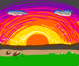 a sunrise over land