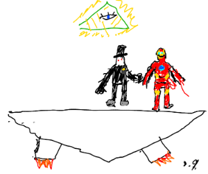 Man with top hat talks to iron man