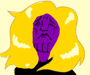 Thanos with flowing golden hair