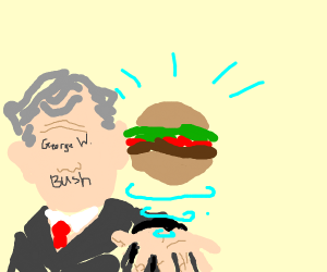 George W. Bush levitating Hamburgers