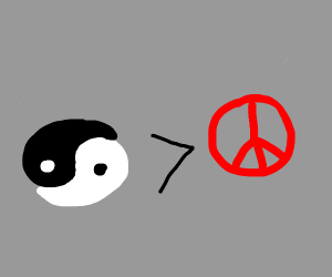yin yang is greater than peace sign