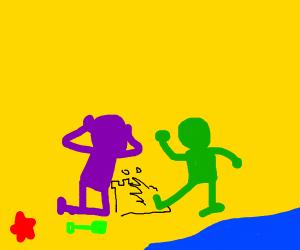 green person kicks purple person's sandcastle