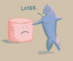 Fire pokes + calls a marshmallow a loser