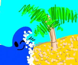 island with winking ocean