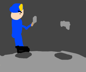 Policeman with knife vs invisible man with gu