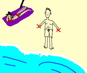 Handless guy at beach