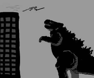 Man falls off building to attack Godzilla