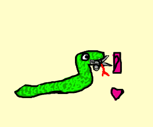 snake with scissors