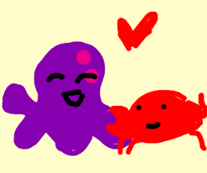 Octopus and crab