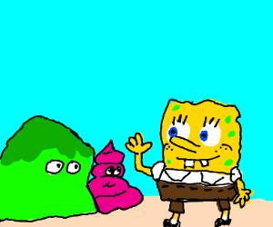 Green blob and a pink stool visit spongebob