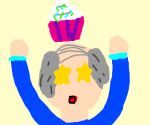 Old Man likes cupcakes