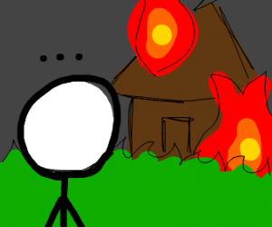 person watching a house burn