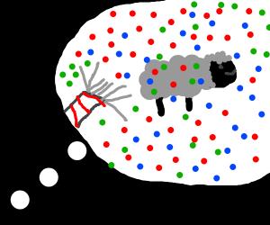 a sheep in a weird dream with confetti