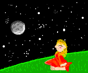 Girl sitting in field,  looking at the stars