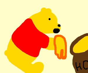 pooh is eating honey