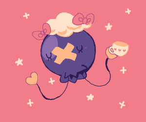 cute Drifloon w/ cup of tea