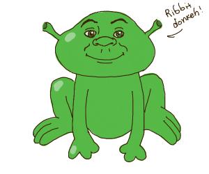 Shrek turned into a frog!