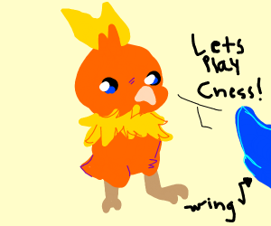 Torchic plays board game against Rufflet