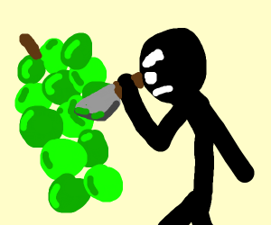 Angry person stabbing grapes
