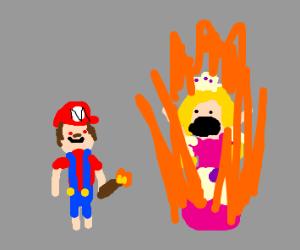 Mario burning Peach alive (cute right)
