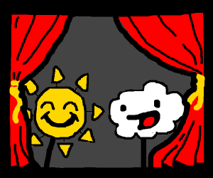 cloud/sun puppet show
