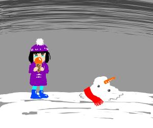 girl w/ icecream is sad about snowman melting