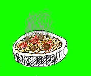 Steaming hot pasta