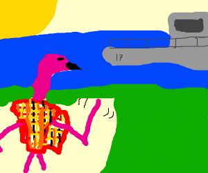 Flamingo in plaid poncho welcomes boat