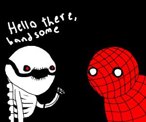 A skeleton notices Spiderman