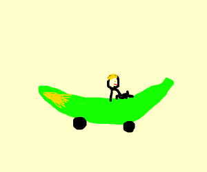 man drives green banana