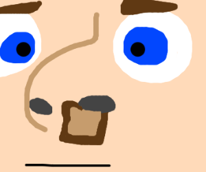 Slice of bread running from nose