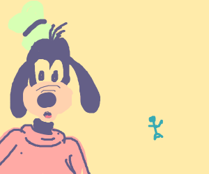 goofy confused about little dude