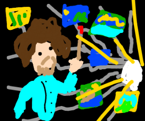 Bob Ross with a tunnel of paintings