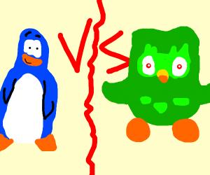 Club penguin vs. evil Duolingo