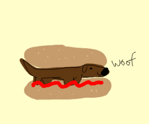 Dog in a hamburger