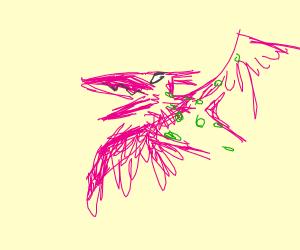 A pink alien bird
