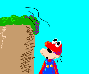 Mario survives being pushed off cliff