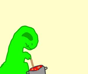 dinosaur making soup