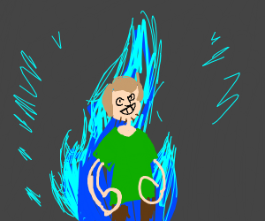 Shaggy in front of epic blue flames