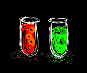 Test Tubes with Red & Green Bubbling Liquid