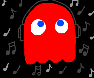 kawaii ghost from Pacman wearing headphones