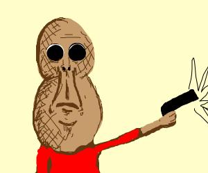 Wierd nuthead tryin to shoot nothing with gun