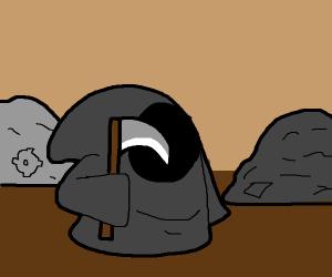 the grim reaper in a junkyard