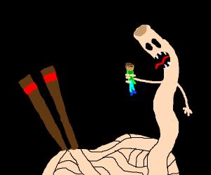 Man eating noodle.