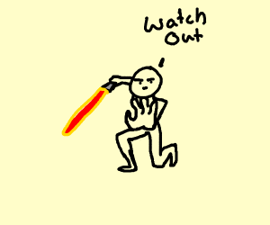 Man holding a lightsaber saying watch out