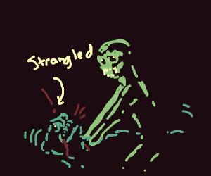 Alien strangles a bear