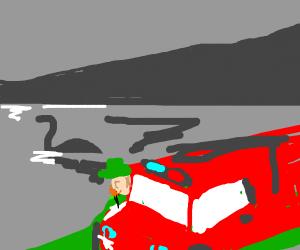 Leprechaun in firetruck looks at Loch Nessie