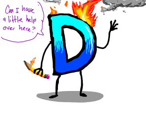 Drawception logo on fire asking for help