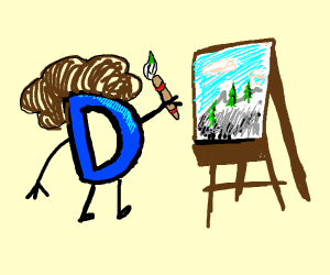 Drawception D using palette and easel