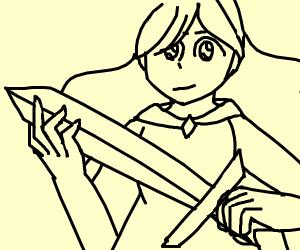 Anime girl wielding a spear